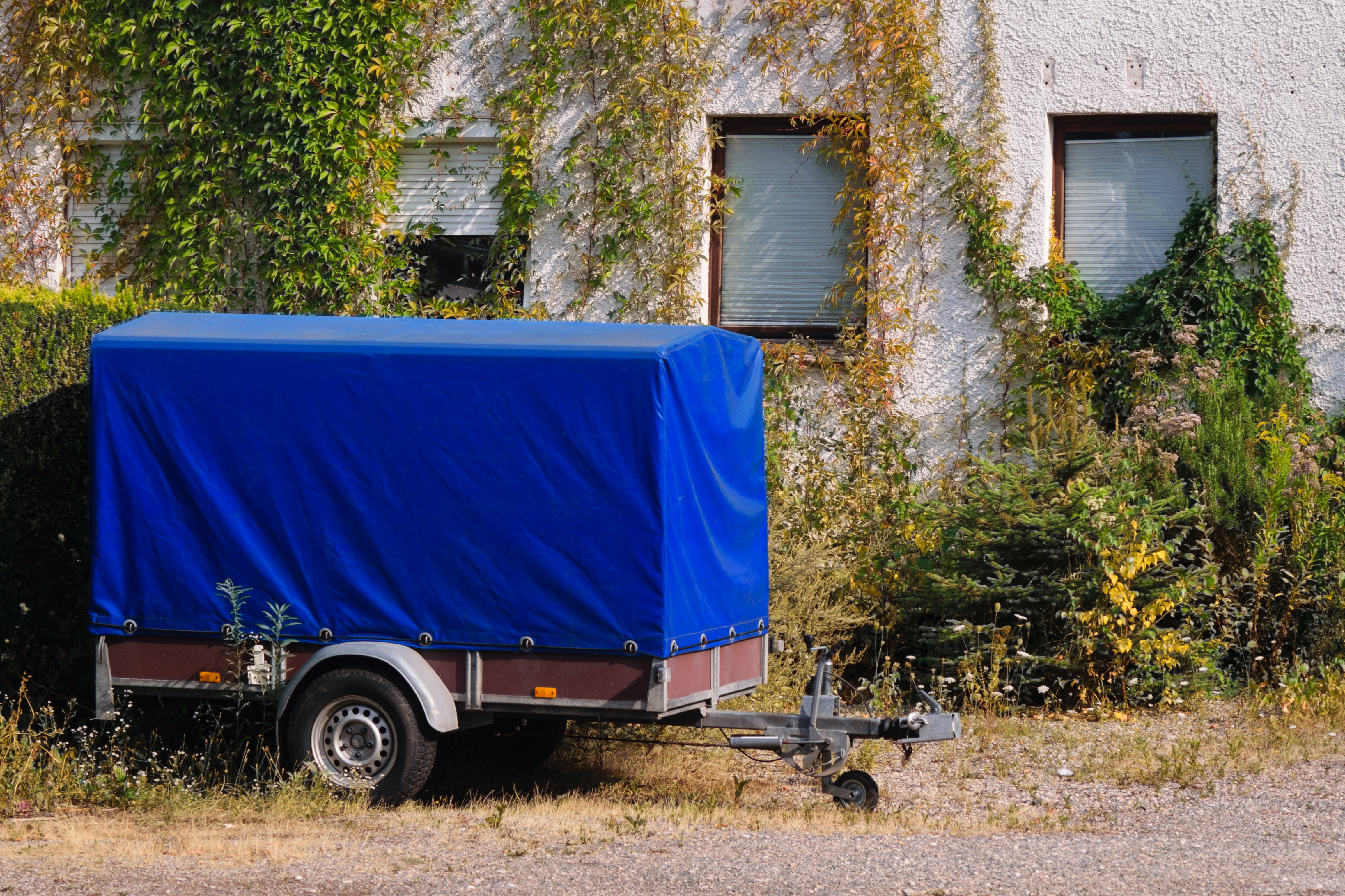 Old blue trailer parked next to an old house with ivy